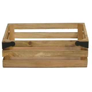 Natural wood crate with metal corner design