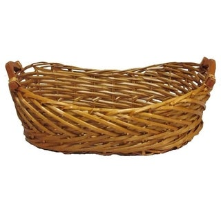 Split Woody Willow Boat Shape Tray w/wood Ear Handles