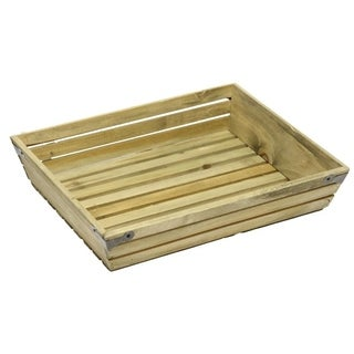 Natural wood large shallow rectangle crate with metal corner design