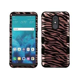 Insten Black/Rose Gold Tuff Zebra Dual Layer Hybrid PC/TPU Rubber Case Cover for LG Stylo 4/Stylo 4 Plus