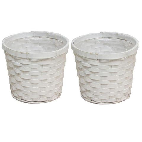 "2 Pcs White bamboo 6"" pot w/ soft liner"