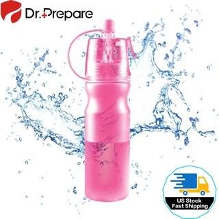 Sport Drinking Bottle Outdoor Mist Spray Water Bottle 2 in 1 20oz Plastic Pink