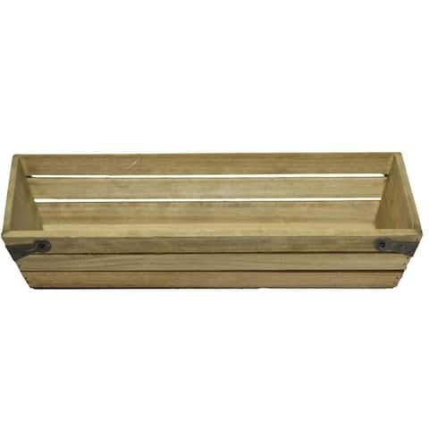 Natural wood small shallow rectangle crate with metal corner design