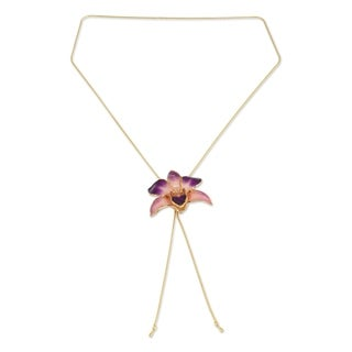 Pink Perfection Preserved 24k Gold-plated Natural Dendrobium Purple Orchid Women's Lariat Necklace (Thailand)
