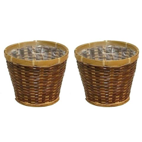 "2 Pcs Natural two toned 6"" bamboo pot w/ soft liner"