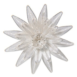 Lotus DelicateOnamental Lace Like Flower Handmade Artisan Pin in 925 Sterling Silver Filigree Womens Brooch (Indonesia)