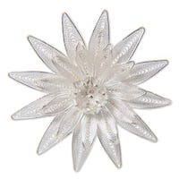 Lotus DelicateOnamental Lace Like Flower Handmade Artisan Pin in 925 Sterling Silver Filigree Womens