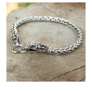 Handmade Sterling Silver Loyal Dragon Braided Style Bracelet (Thailand)