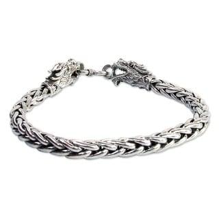 Handmade Sterling Silver Loyal Dragon Braided Style Bracelet (Thailand)