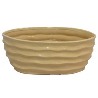 Glazed cream contemporary long oval pot with wave design