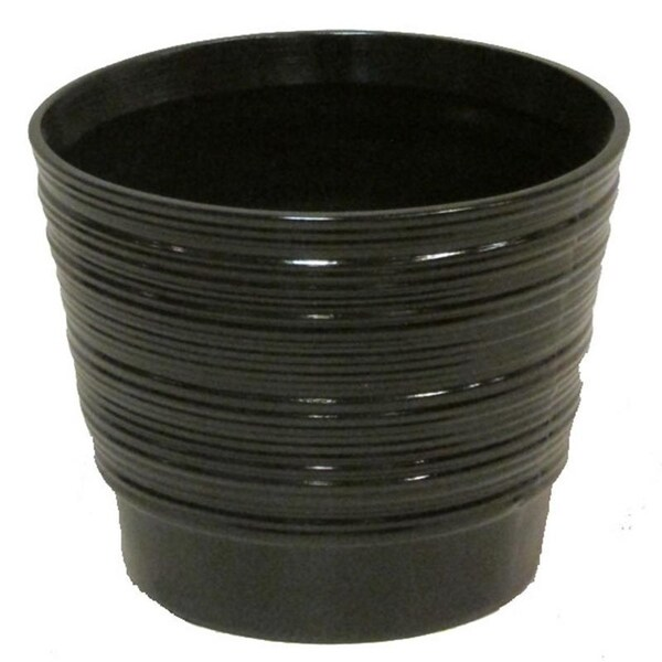 Glazed black contemporary round pot with horizontal line indents