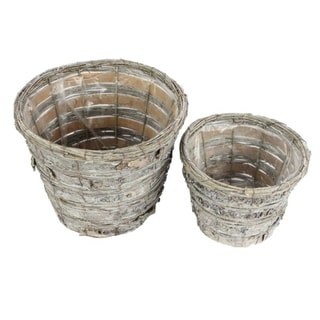 "Set of 2 Grey Rustic Birch Tree Bark 6"" Pot w/ Soft Liner"