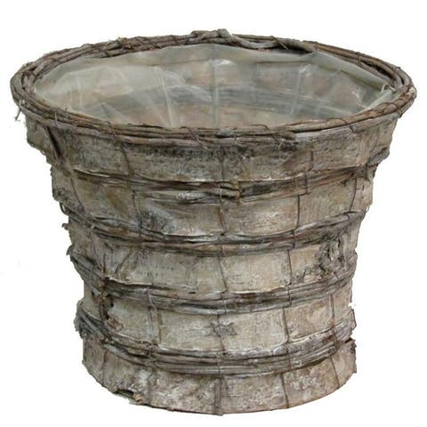 Grey Rustic Birch Tree Bark Pot w/ Soft Liner