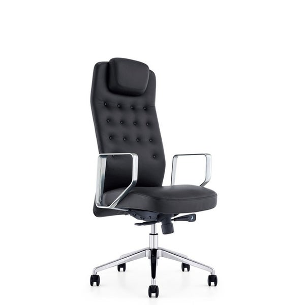 HomeRoots Furniture Modern High Back Ergonomic Upholstered Leatherette Office Chair - Black