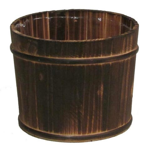 """Dark stained 6"""" wood pot w/ hard liner"""