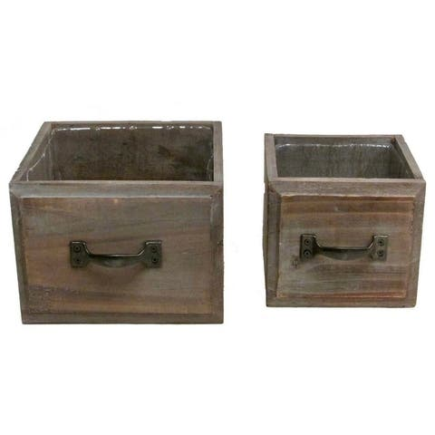 Set of 2 Stained wood medium and small drawer style pots w/ hard liner