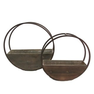 Set of 2 Round wood and metal framing wall hanging planters w/ hard liners
