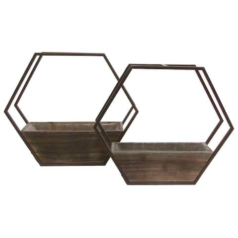 Set of 2 Hexagon wood and metal framing wall hanging planters w/ hard liners