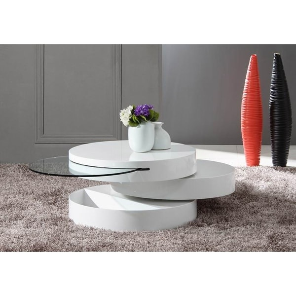 HomeRoots Furniture Modern MDF and Glass Swivel Coffee Table in High Gloss White Finish