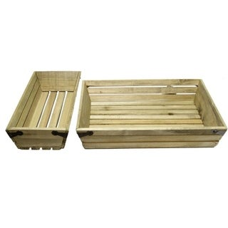 Set of 2 Natural wood small shallow rectangle crate with metal corner