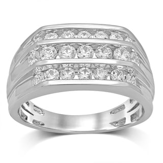Unending Love 10K White Gold 1 1 2 Cttw Diamond 3 Row Gent S Band Ring