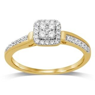 Unending Love 10K Yellow Gold 1/3 Cttw Diamond Square Shape Engagement Ring