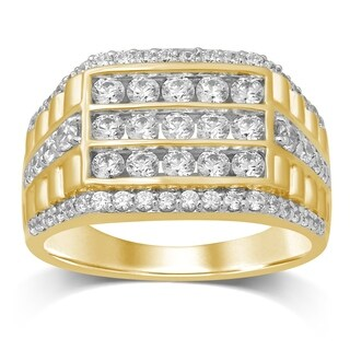 Unending Love 10K Yellow Gold 1-3/4 Cttw Diamond Men's Band Ring