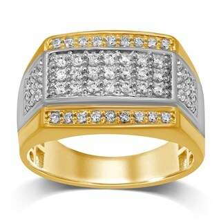 Unending Love 10K Two Tone Gold 1 Cttw White Diamond Gents Ring Band