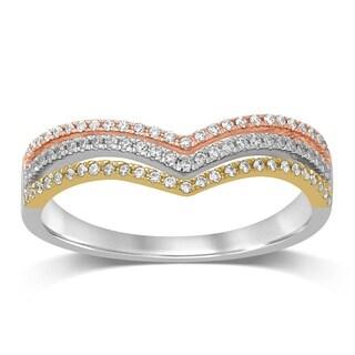 Unending Love 10K Tri Color Gold 1/5 Cttw Diamond Women's Fashion Band Ring