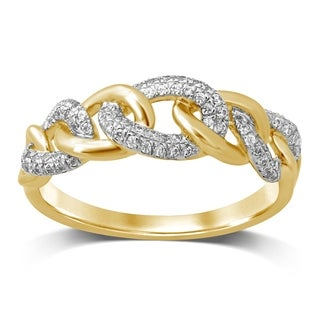 Unending Love 10K Yellow Gold 1/5 Cttw Diamond Chain Link Fashion Band