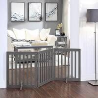 Unipaws Indoor Freestanding Pet Gate Wooden Dog Gate 2PCS Support Feet