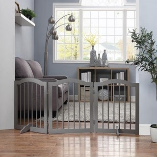 Indoor Freestanding Pet Gate Wooden Dog Gate w/ Arched Top by Unipaws