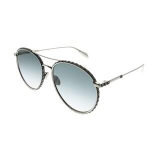 Alexander McQueen Round AM 0179S 002 Unisex Silver Frame Grey Gradient Lens Sunglasses