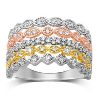 Unending Love 10K Tri Color Gold 3/4 Cttw White Diamond Anniversary Ring