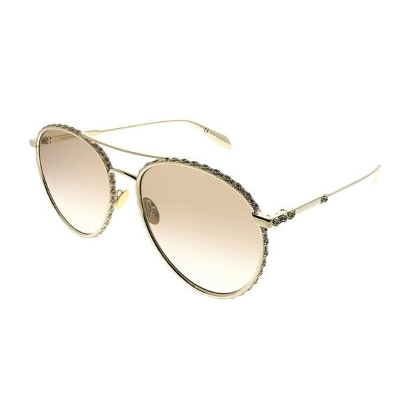 59e21b7b607d4 Alexander McQueen Round AM 0179S 003 Unisex Gold Frame Brown Gradient Lens  Sunglasses