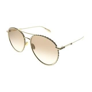 Alexander McQueen Round AM 0179S 003 Unisex Gold Frame Brown Gradient Lens Sunglasses