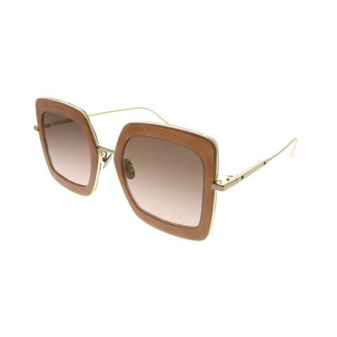 Bottega Veneta Square BV 0209S 002 Women Brown Gold Frame Brown Gradient Mirrored Lens Sunglasses