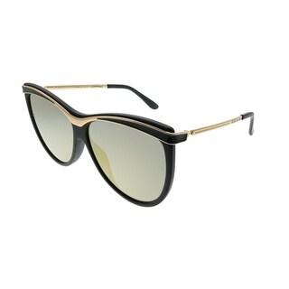 Elie Saab Cat-Eye ES 024/G/S 003_O3 Women Matte Black Frame Gold Mirror Gradient Zeiss Lens Sunglasses