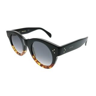 Celine Round CL 41440/F FU5 Women Black Havana Frame Grey Lens Sunglasses