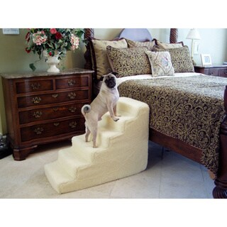 PetStairz 6-step Foam Soft and Portable Steps with Beige Sherpa Cover