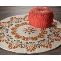 LR Home Hand Tufted  Dazzle Ivory/ Rust Wool Rug
