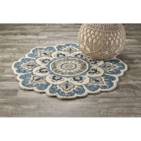 LR Home Hand Tufted Dazzle Ivory/ Teal Wool Rug