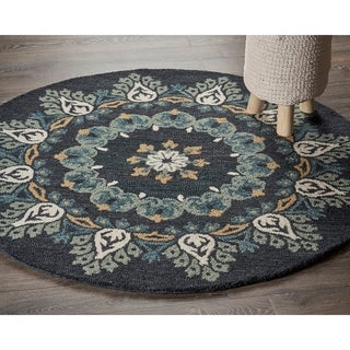 LR Home Hand Tufted  Dazzle Charcoal/ Teal Wool Rug