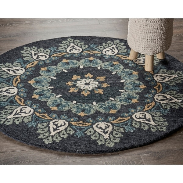 Shop LR Home Hand Tufted Dazzle Charcoal/ Teal Wool Rug
