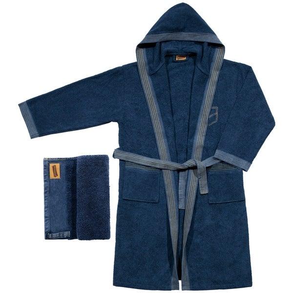 079711670c Shop %100 Cotton Blue Denim Design Towel Set Hooded Bathrobe - On ...