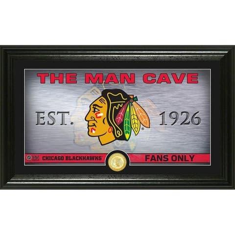Chicago Blackhawks Man Cave Panoramic Bronze Coin Photo Mint