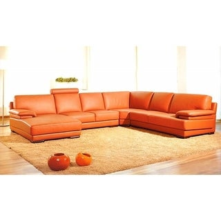Divani Casa 2227 Contemporary Orange Leather Sectional Sofa