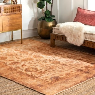 nuLOOM Orange Transitional Classical Antoinette Faded Medallion Border Area Rug