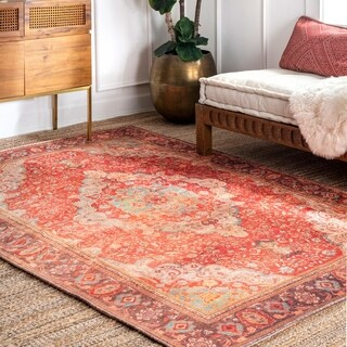 nuLOOM Orange Traditional Oriental Faded Ornamental Border Area Rug
