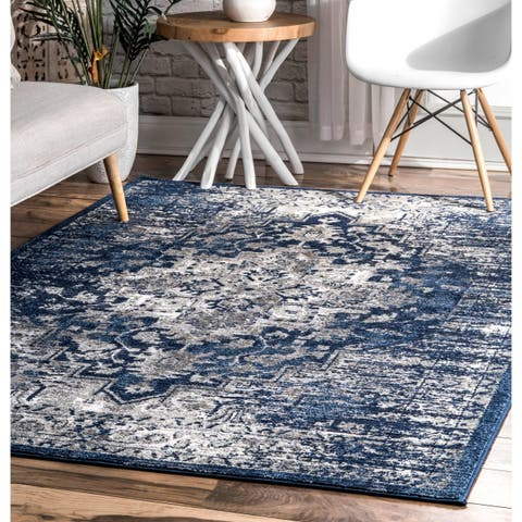 Porch & Den Mercer Blue Vintage Ombre Medallion Area Rug